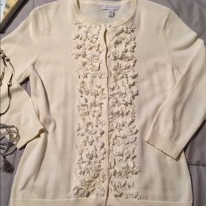"CHARTERCLUB EUC Ivory ""Petals"" Cardigan Size Med"